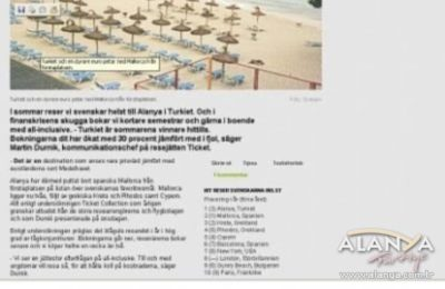 """DAGENS NYHETER """"THE MOST POPULAR POINT OF SWEDEN THIS YEAR IS ALANYA"""""""