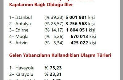 Turist İstatistikleri (Türkiye 2020)